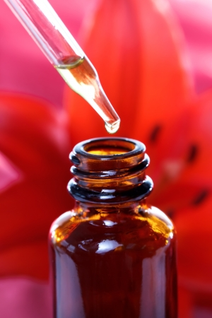 homeopathic: Herbal Medicine Dropper Bottle with Red Lily