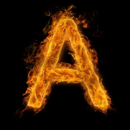 Fiery uppercase letter A photo