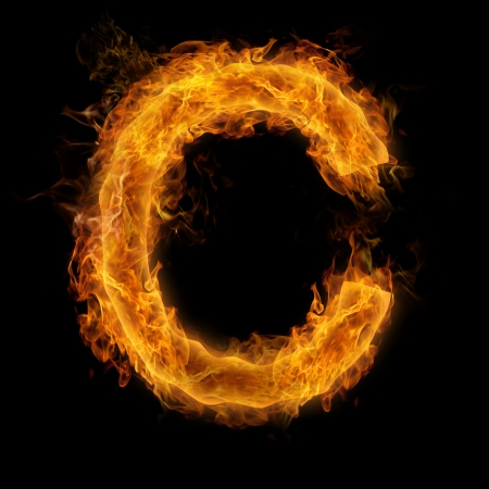 letter c: Fiery uppercase letter C