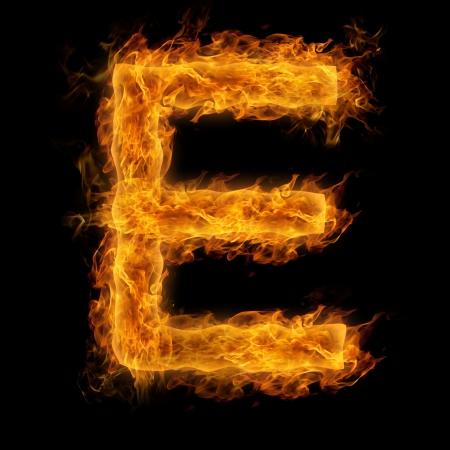 uppercase: Fiery uppercase letter E