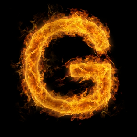 fire font: Fiery uppercase letter G Stock Photo