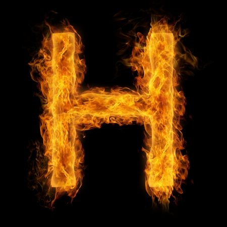 flaming: Fiery uppercase letter H