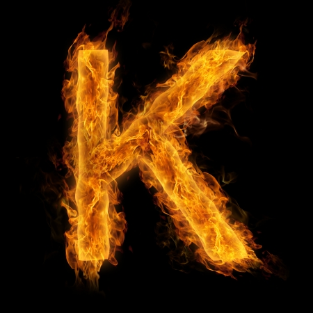 Fiery uppercase letter K photo