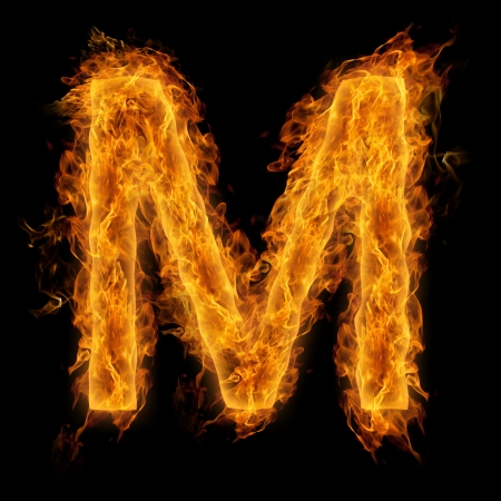 uppercase: Fiery uppercase letter M Stock Photo