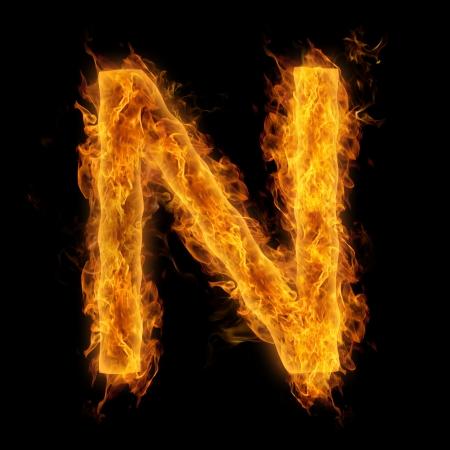 uppercase: Fiery uppercase letter N