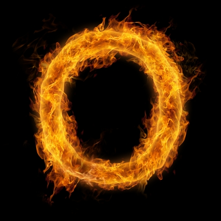 uppercase: Fiery uppercase letter O Stock Photo