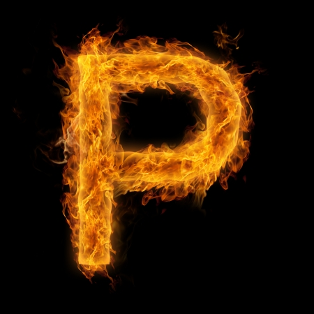 flaming: Fiery uppercase letter P