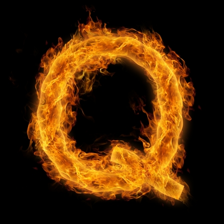 uppercase: Fiery uppercase letter Q