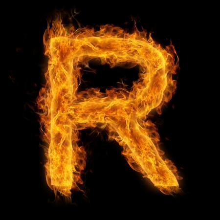 uppercase: Fiery uppercase letter R