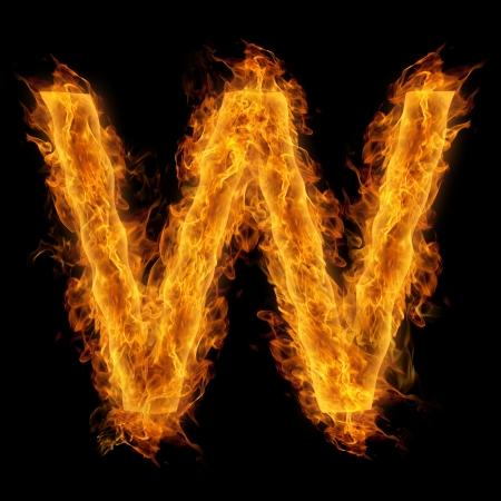 uppercase: Fiery uppercase letter W
