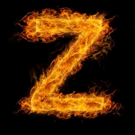 letter: Fiery uppercase letter Z