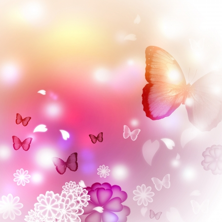Blossoms and butterflies pastel illustration