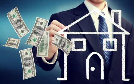 Business man drawing a house illustration and flying hundred dollar bills illustration