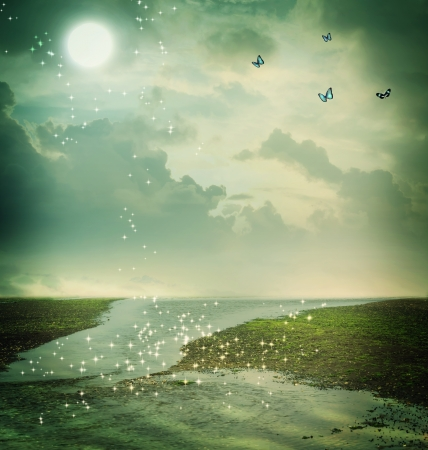 fantasy butterfly: Small butterflies and moon in fantasy landscape