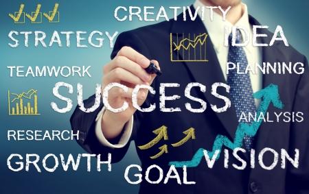 gente exitosa: Hombre de negocios escribir textos con temas de negocios y fotos Foto de archivo