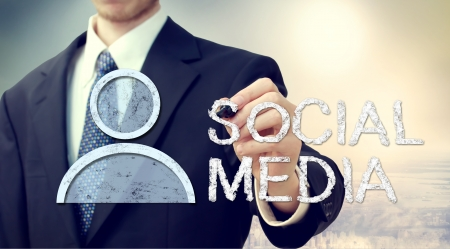 Businessman with Social Media Concept photo