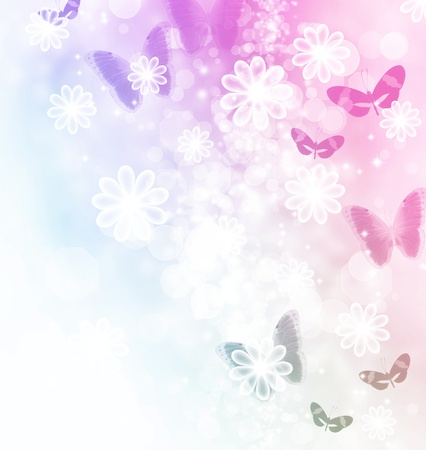 abstract flowers: Blossoms and butterflies pastel illustration
