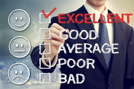 bad service: Excellent on customer survey - Business man with smiley faces