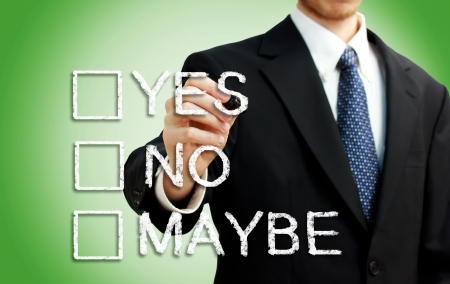 maybe: Businessman with yes, no, maybe checkbox Stock Photo