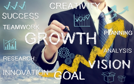 Business man with concepts of growth, innovation, vision, success, and creativity with rising arrows photo