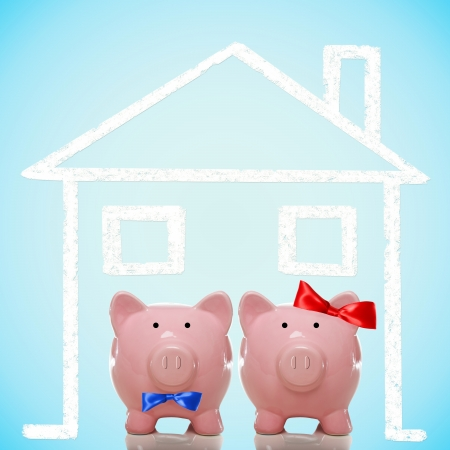 Piggy bank husband and wife - home concept photo