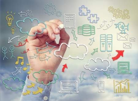 cartoon words: Cloud computing and connectivity theme with icons drawn with chalk sketches Stock Photo