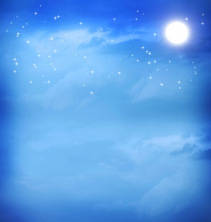 astral: Moon and stars in the blue night sky