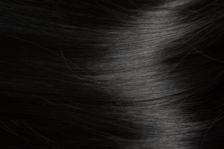 textura pelo: Hermoso pelo negro sano - cerca