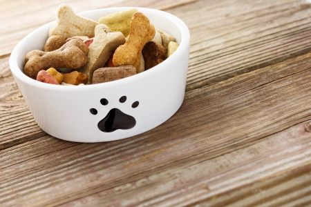 bowl: Dog food in a bowl on wooden table