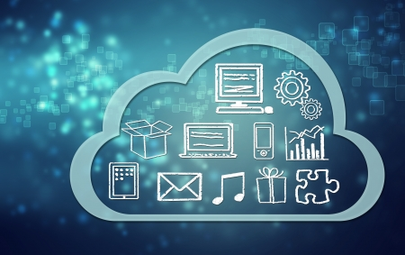 Cloud computing concept icons and symbols on blue background Stock Photo - 20703380