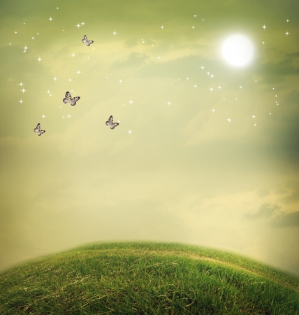 Butterflies in the fantasy hilltop landscape with moon Stock fotó