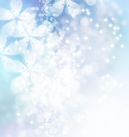 winter cherry: Cherry blossoms on ice blue gradient background Stock Photo
