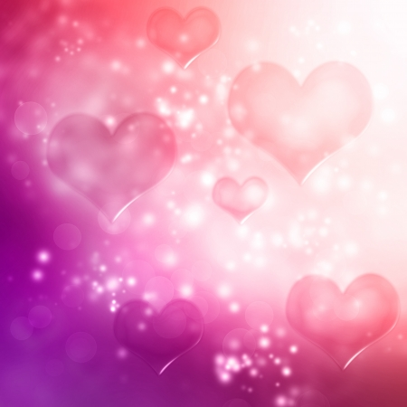 Hearts on pink and purple gradient background photo