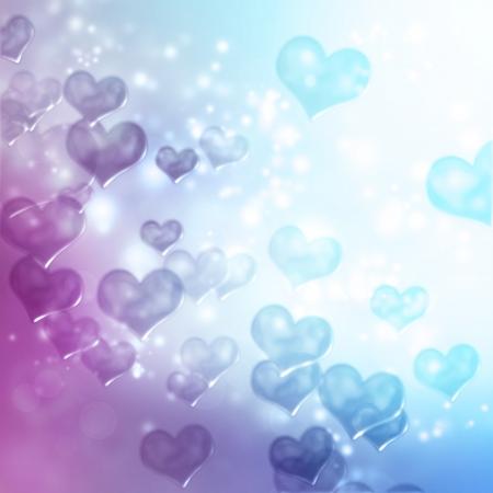 Harten op blauwe en paarse achtergrond gradient Stockfoto