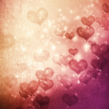 floating: Hearts on grunge pink magenta gradient background Stock Photo