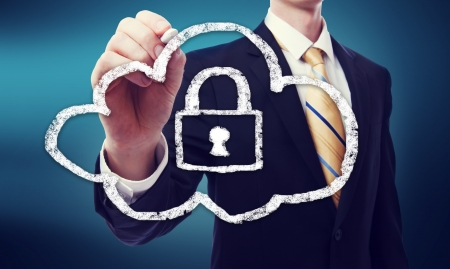 security equipment: Secure Online Cloud Computing Concept with Business Man  Stock Photo