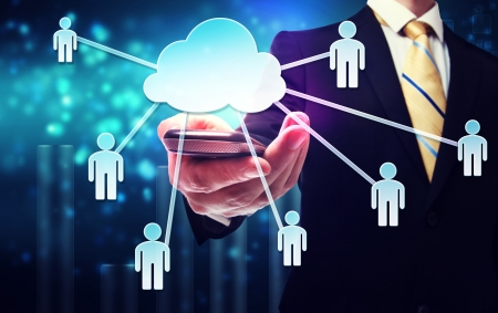 Business man with cloud computing connection concept on blue technology background Stock Photo