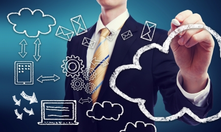 Business man with connectivity through cloud computing concept Stock Photo - 22161182