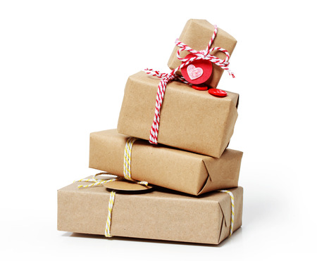 Stack of handcraft gift boxes  photo