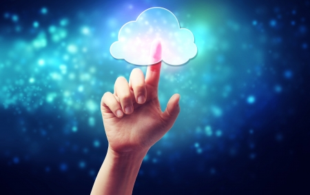 počítač: Cloud computing konektivita koncepce ikona stisknutí Reklamní fotografie