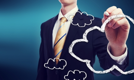 Business man with connectivity via cloud computing concept photo