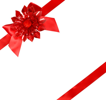 Red Bow and Ribbon on White Background Imagens