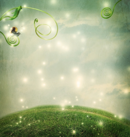 Fantasy landscape with a small snail and tendrils photo