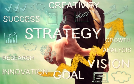 hand writing: Businessman pointing STRATEGY with yellow arrow and business concept texts