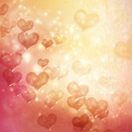 Hearts on grunge red orange gradient background
