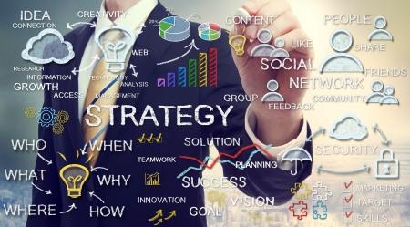lluvia de ideas: Conceptos de estrategia empresarial Empresario dibujo con tiza