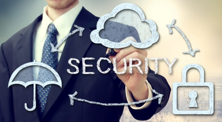 Secure online cloud computing concept with businessman photo