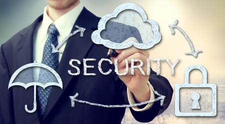 Secure online cloud computing concept with businessman photo