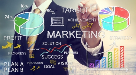 Businessman drawing business marketing concepts with chalk Standard-Bild