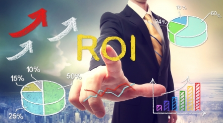 roi: Businessman touching ROI (return on investment) over skyline